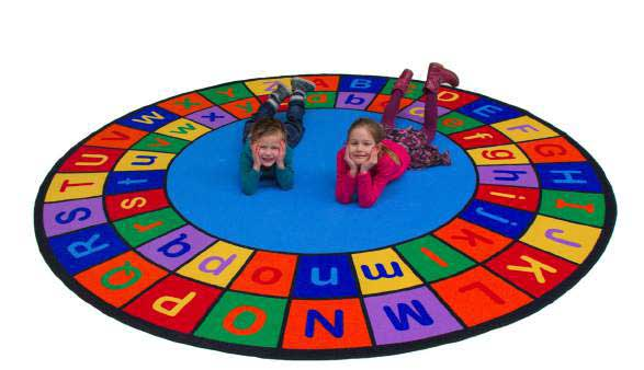 Learning Carpets 9' Upper and Lower Case Alphabet Grid Rug - CPR943 - The Creativity Institute