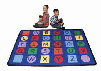 Learning Carpets Value Size Rug - Alphabet on Circles and Squares - CPR737