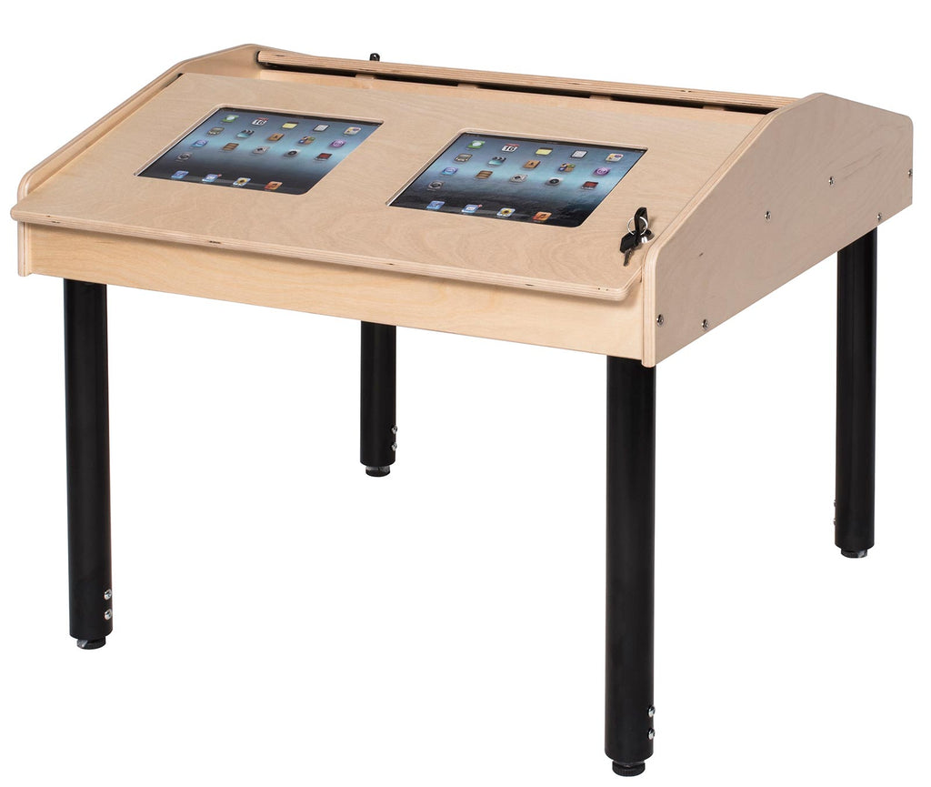 Angeles 4-Station Technology Table with Adjustable Legs