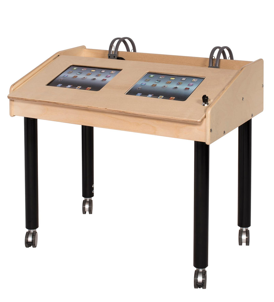 Angeles 2-Station Double-Wide Technology Table with Adjustable Legs