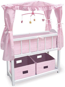 Badger Basket White Doll Crib with Cabinet, Bedding and Mobile