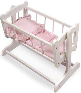 Badger Basket Heirloom Style Doll Cradle with Blanket & Pillow