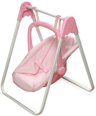 Badger Basket Doll Swing and Carrier - Pink Gingham