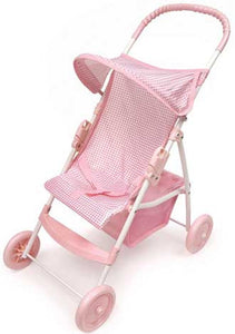 Badger Basket Folding Doll Umbrella Stroller - Pink Gingham Fabric - The Creativity Institute