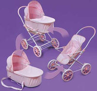 Badger Basket Pink Gingham 3-in-1 Doll Pram, Carrier, and Stroller