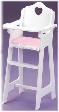 Good Badger Basket White Doll High Chair With Plate, Bib And Spoon