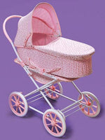 Badger Basket Pink Rosebud 3-in-1 Doll Pram, Carrier and Stroller