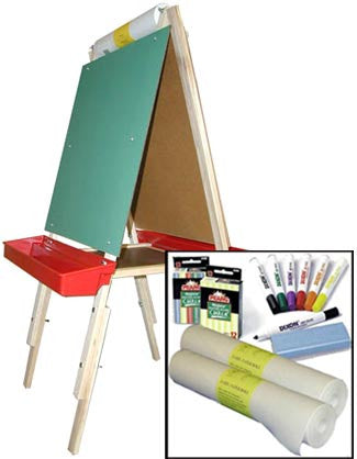 Beka Child's Easel Combo A-Adjustable Magnetic and Chalk Easel & Two-Roll Supplies Package