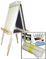 Beka Child's Easel Combo B-Adjustable Marker Board and Chalk Easel with Two-Roll Supplies Package