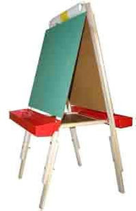 Beka 01021 Ultimate Child's Easel, Adjustable, Magnetic and Chalk Panels, Red Trays