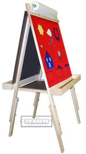 Beka Adjustable Child's Easel with Red Felt, Chalk and Marker Panels-Wood Trays