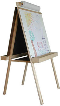 Beka 1102 Deluxe Child's Easel, Double-Sided, Chalk and Markerboard, Wood Trays