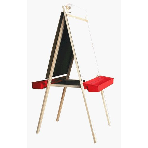 Beka 01107 Deluxe Child's Easel, Double-Sided, Magnetic and Chalk Panels, Red Trays