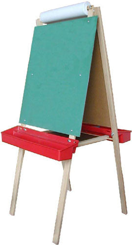 Beka 1104 Deluxe Child's Easel, Double-Sided, Chalk and Markerboards, Red Trays