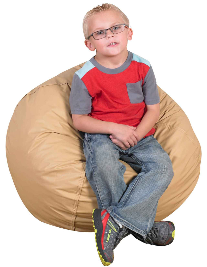 "Children's Factory CF600-095 26"" Foam Filled Bean Bag Chair - Almond - The Creativity Institute"