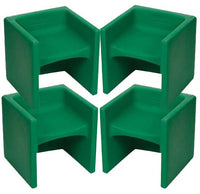 Children's Factory CF910-011 Chair Cubed 4 Pack - Green Cube Chairs