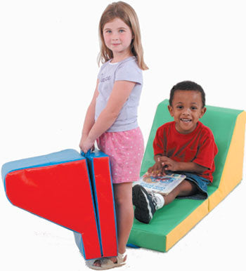 Children's Factory CF349-017 Cozy Time Blue/Red Lounger