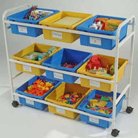 Copernicus CC005-9-WBY Multi-Purpose Cart - 5 Blue & 4 Yellow Open Tubs