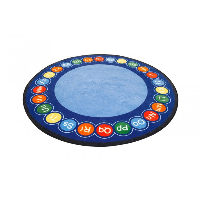 Learning Carpets 9' Round ABC Rotary Rug - CPR458