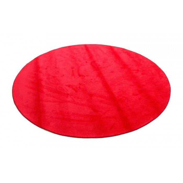 "Learning Carpets 6' 6"" Round Solid Red Rug - CPR477R"