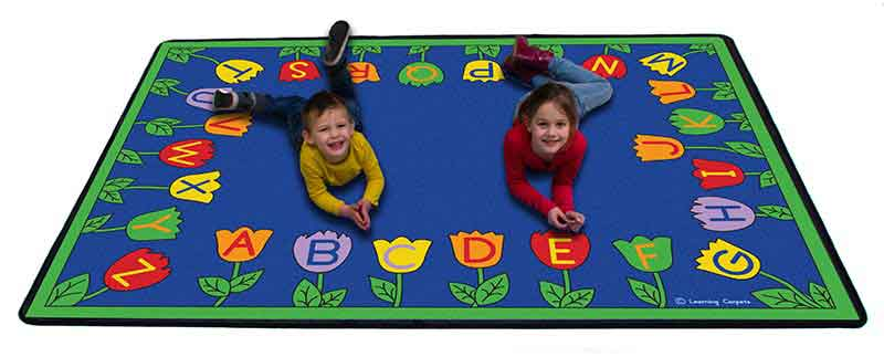 "Learning Carpets Tulips Alphabet Garden 5'10"" x 8'5"" Rug - CPR280 - The Creativity Institute"