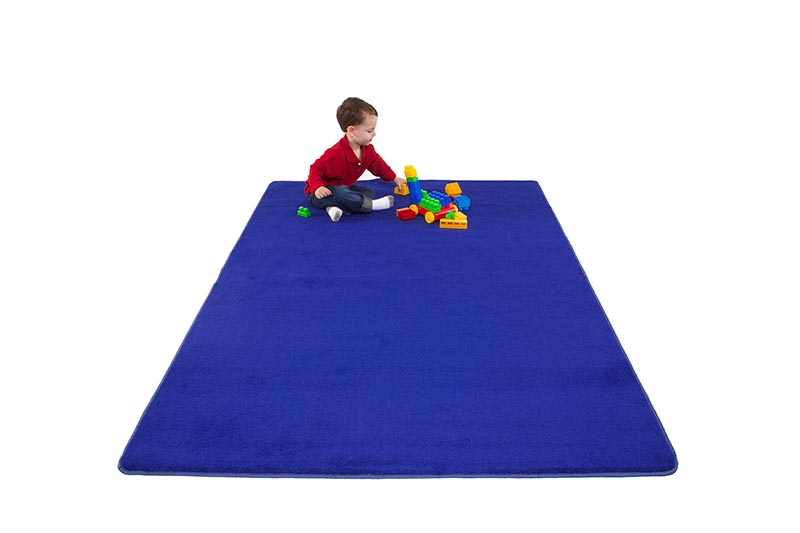 "Learning Carpets 8'5"" x 11'9"" Solid Blue Rug - CPR474R"