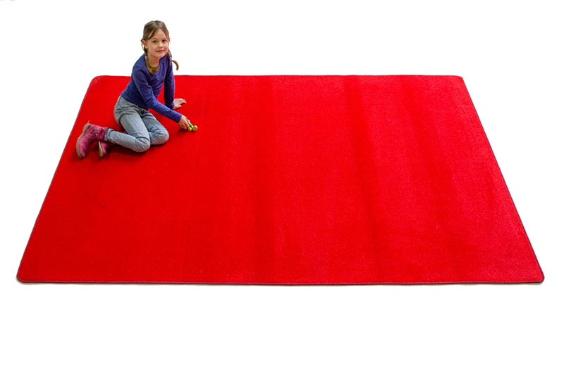 "Learning Carpets 8'5"" x 11'9"" Solid Red Rug - CPR480R"