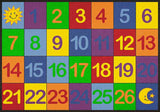 Learning Carpets Colorful Number Grid 1-26 – Rectangular Small  CPR570