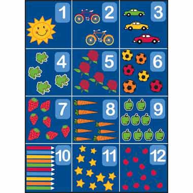 "Learning Carpets 8'5"" x 11'9"" Counting Rug 1-12 - CPR862"