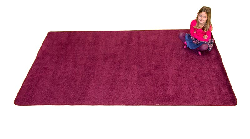 "Learning Carpets 8'5"" x 11'9"" Solid Cranberry Rug - CPR873R"