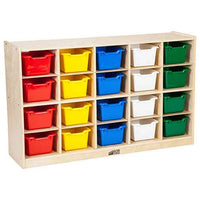 ECR4Kids Birch 20 Cubby Tray Cabinet with Assorted Bins ELR-0426-AS
