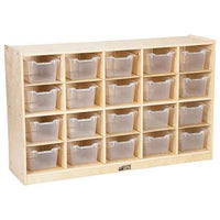 ECR4Kids Birch 20 Cubby Tray Cabinet with Clear Bins ELR-0426-CL