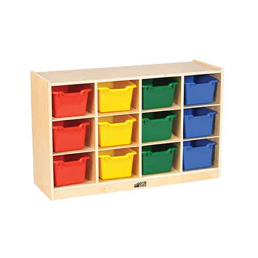 ECR4Kids Birch 12 Cubby Tray Cabinet with Colored Bins ELR-17252-AS - The Creativity Institute