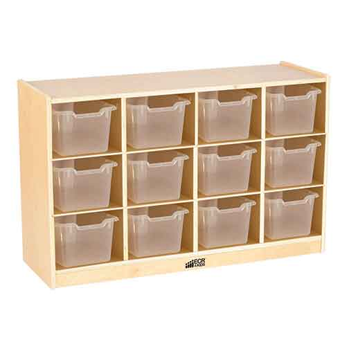 ECR4Kids Birch 12 Cubby Tray Cabinet with Clear Bins ELR-17252-CL