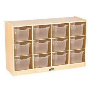 ECR4Kids Birch 12 Cubby Tray Cabinet with Clear Bins ELR-17252-CL - The Creativity Institute