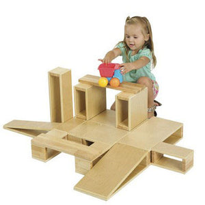 ECR4Kids Wooden Hollow Blocks - 18 Pc. Set - ELR-0342 - The Creativity Institute