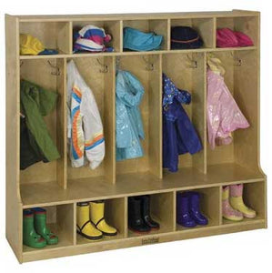 ECR4Kids ELR-0453 5-Section Coat Locker with Bench - The Creativity Institute