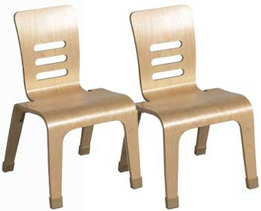"ECR4Kids ELR-15712-NT 12"" Bentwood Chair Set of 2 - Natural - The Creativity Institute"
