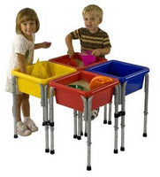 ECR4Kids 4-Station Square Sand & Water Table with Lids-ELR-0799