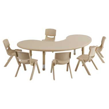 "ECR4Kids 65"" Kidney Resin Adjustable Table & 6 10"" Resin Chairs ELR14407P6X10-SD Sand"