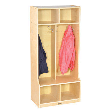 ECR4Kids Birch 2-Section Straight Coat Locker with Bench ELR-17231