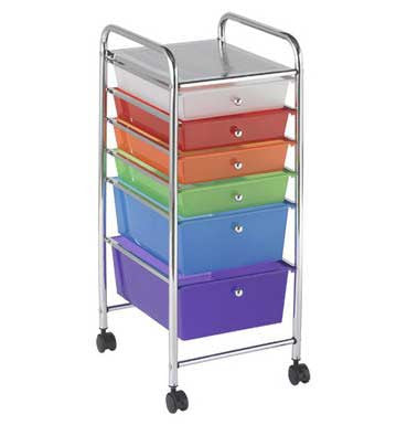 ECR4Kids ELR-20102-AS 6-Drawer Mobile Organizer - Multicolor - The Creativity Institute