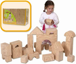 Edushape 726032 Big Wood-Like Building Blocks 32-Piece