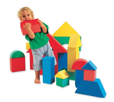 "Edushape Giant Blocks 32-Piece Big Soft 4 1/3"" Thick Blocks - - Box"