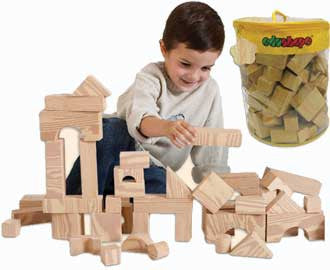 Edushape Set of 80 Wood-Like Soft Blocks Building Blocks