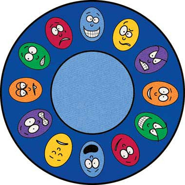 "Learning Carpets 6'6"" Round Expressions Rug - CPR436 - The Creativity Institute"