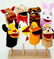 Guidecraft 8-Puppet Wooden Puppet Stand
