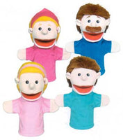 Get Ready Kids 350 Set of 4 Caucasian Family Moving-Mouth Puppets
