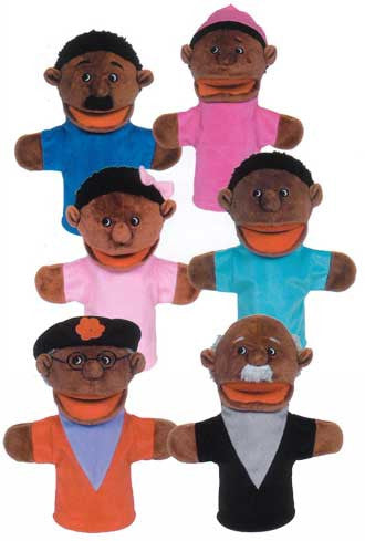 Get Ready Kids 6 African-American Family Moving-Mouth Hand Puppets - The Creativity Institute