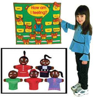 Get Ready Kids Feelings Wall Chart and 421 Puppets-African American